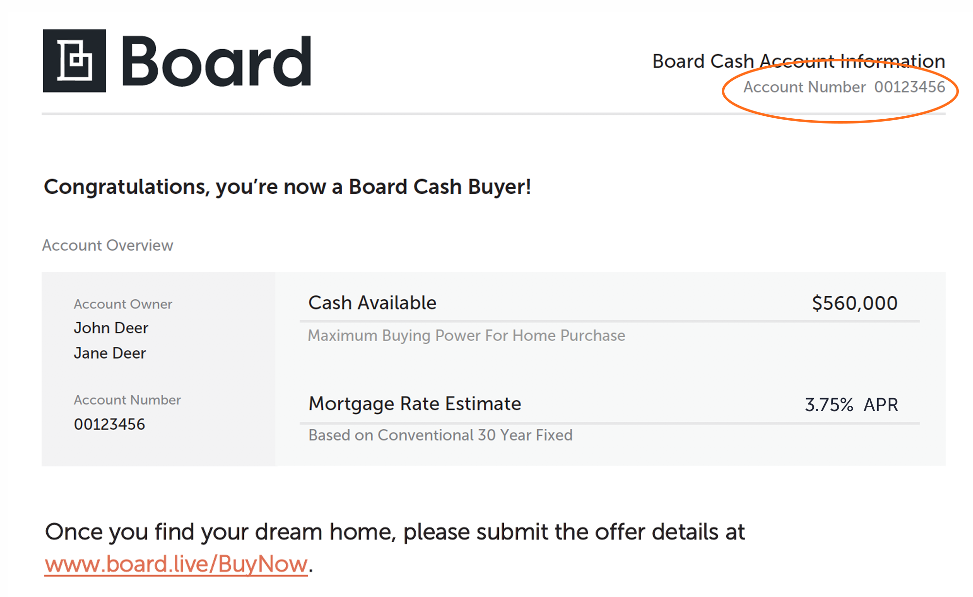 Where to find your Board Cash account number